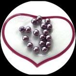 lot de 17 perles nacrées mauve violet  8 mm création bijoux Réf : 1530