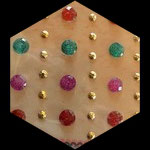Strass : planche 48 strass rouge, vert, rose, or autocollants diverses formes STRO27