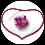 lot de 8 perles nacrées rose  8 mm création bijoux Réf : 1543