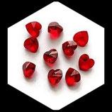 Perles coeur verre à facettes 15 mm rouge saphir non percées, lot de 2 coeurs Réf : 146