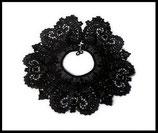 Faux col rond dentelle noire  vintage véritable - applique plastron à coudre