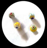 Perles verre mêlé 10 mm. Lot de 4 perles. PER255
