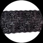 Dentelle élastique fleurs noires 17 cm DEN103