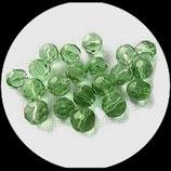 Perles de verre à facettes vert transparent  10 mm X 10 perles Réf : 877