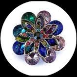 Grosse bague élastique fleur multicolore 3D strass métal argenté BAG104