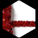 Galon rouge avec sequins 1.5 cm vendu au mètre GAL041