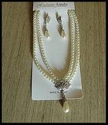 Parure collier et pendants d'oreilles imitation perles, strass argent PAR003