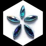 Strass navette turquoise irisé 21 x 7 mm à coudre X 10. STR048