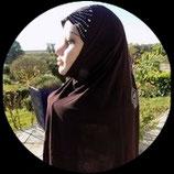 Cagoule ou hijab adulte marron motifs strass  pour costume CAG011