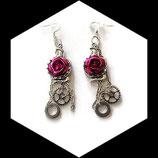 Steampunk boucles oreilles ou pendants cobra rose fuchsia, modéle unique.