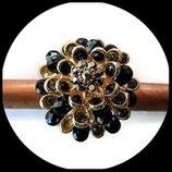 Grosse bague élastique 3D strass noir métal doré BAG085