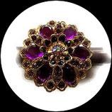Grosse bague élastique 3D strass violets métal doré BAG142