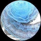 Volant dentelle bleu et organza blanc plissé sequins 5 cm DEN055