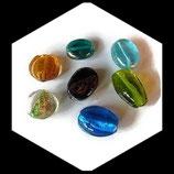 Perles verre palets mélange - lot 7 perles verre palet irisé, feuille d'argent, transparent Réf : 1392