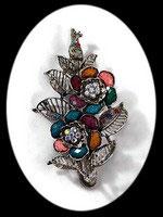 pince cheveux clip fleurs multicolores strass BAR009