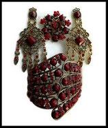 Parure bijoux fantaisie 3 pièces strass  bordeaux opaques et rouges, métal doré PAR035