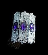 Bracelet manchette strass violets, métal argenté. BRA011