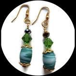 boucles pendants oreilles perle swarovski vert et doré