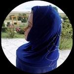 Cagoule ou hijab adulte bleue motifs strass  pour costume CAG007