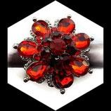 Grosse bague élastique fleur 3D strass rouges métal argenté BAG139
