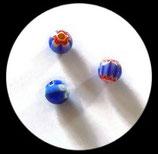 Perles verre mêlé 10 mm. Lot de 3 perles. PER258