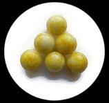 Perle en verre effet marbre 16 mm jaune pâle  Réf : 043
