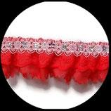 Volant dentelle, tissu polyester rouge et blanc avec sequins fleurs 4 cm DEN056