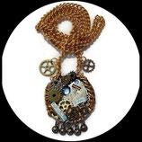 collier sautoir steampunk mécanisme montre