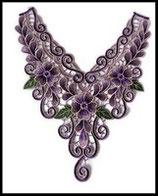 Faux col plastron à coudre en dentelle brodé violet, mauve fleurs FCO010