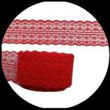 Dentelle polyester rouge 4.5 cm X 9 m. DEN024