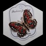 Broche papillon rouge à strass BRO036