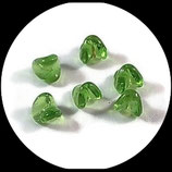 Perle en verre  olivine x 8 - lot 8 perles de verre pour création de bijoux - Réf  1404