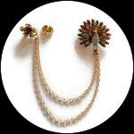 Broche clip chaîne paon strass métal doré pour veste CLI006