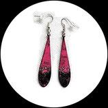 boucles pendants oreilles gouttes émail noir rose et argent double face