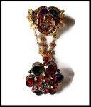 Ensemble bracelet bague fleur strass multicolores, métal doré BRA017