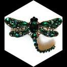 Broche libellule strass verts, broche bijou fantaisie strass  BRO093
