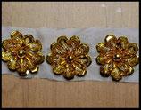Applique fleur 3D dorée sequins et perles 3 cm Lot de 2 pièces APP022