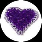 Applique coeur fleurs organza violet, sequins violet et galon argenté APP072