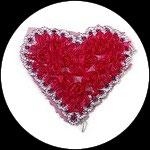 Applique coeur fleurs organza rose/rouge, sequins roses et galon argentés APP073