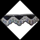 Dentelle ruban organza noir brodée  sequins argent irisé 5 cm X 1 mètre DEN007