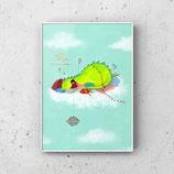 Schlafender Dino  print