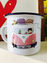 Becher emaille Campingbus rosa