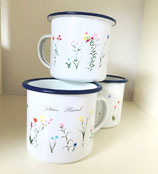 Becher emaille Wildblumen