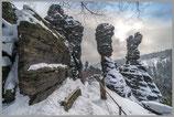 "Poster ""Winterzeit an den Herkulesssäulen im Bielatal"""