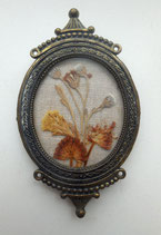 ANTIQUE - BRASS FRAMED DRY FLOWERS