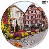 Magnet Button Motiv Sonnenplatz-Fachwerkhaus