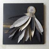 ANGE en papier plié, collé sur bois