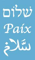 Magnet Paix Shalom Salam Bleu