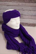 Lila-Set aus Schal und Stirnband