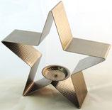 Stern aus Edelstahl als Teelichthalter Leinenstruktur